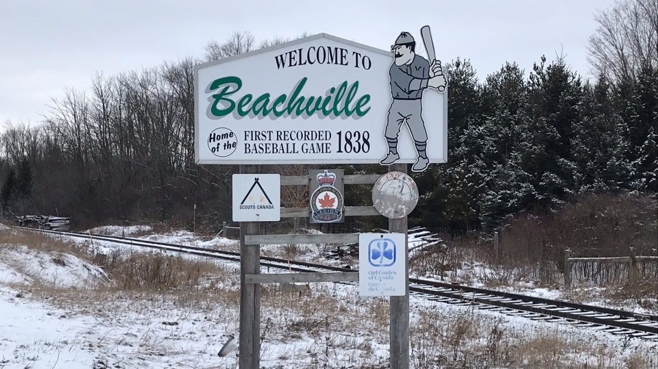 A sign for Beachville, Ont. is seen Tuesday, Jan. 19, 2021. (Sean Irvine / CTV News)