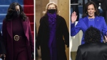 Political experts and social media users have speculated that the choice to wear purple was intentional, to portray a symbolic message of America coming together. (CTV News)