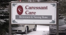A sign for the Caressant Care Long-Term Care Home in Listowel, Ont. is seen Wednesday, Jan. 20, 2021. (Scott Miller / CTV News)