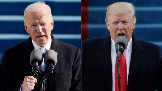 In this photo composite, U.S. President Joe Biden speaks during his inauguration in Washington on Wednesday, Jan. 20, 2021, and then-president Donald Trump delivers his inaugural address in Washington on Friday, Jan. 20, 2017. (AP Photos/Patrick Semansky, Pool)