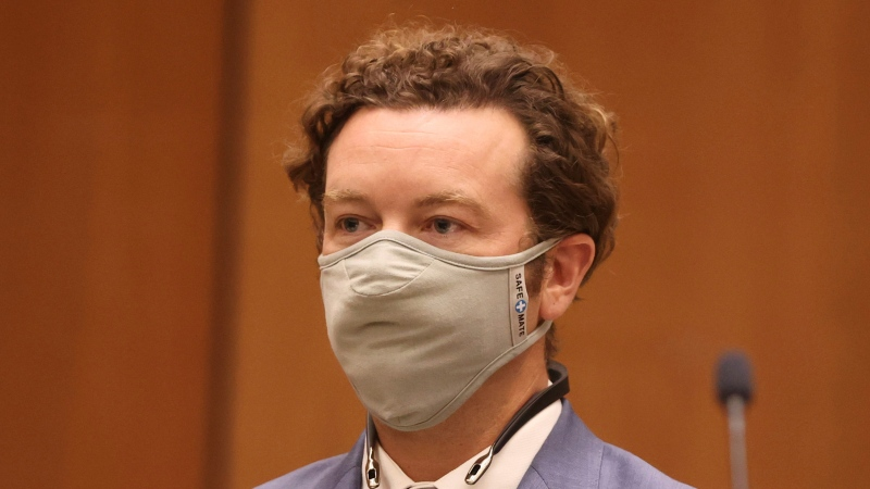 Actor Danny Masterson appears at his arraignment in Los Angeles Superior Court in Los Angeles, Calif. on Friday, Sept. 18, 2020. (Lucy Nicholson/Pool Photo via AP)