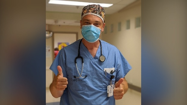 Dr. Paul Hosek working in Grand River Hospital's Intensive Care Unit (Supplied: Grand River Hospital)