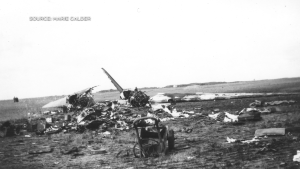 A military plane crashed near Estevan on Sept. 15, 1946 near Estevan. (Source: Marie Calder)