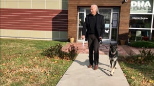 This Nov. 16, 2018, photo, file provided by the Delaware Humane Association shows Joe Biden and his newly-adopted German shepherd Major, in Wilmington, Del. (Stephanie Carter/Delaware Humane Association via AP)