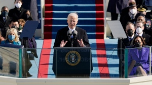 U.S. President Joe Biden speaks during the 59th Presidential Inauguration at the U.S. Capitol in Washington, Wednesday, Jan. 20, 2021.(AP Photo/Patrick Semansky, Pool)