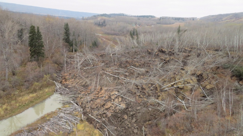 A slow moving landslide is seen inching down a hillside in northern British Columbia, prompting the evacuation of nearby Old Fort, B.C., in an undated handout photo. (B.C. Ministry of Forests and Lands, Marten Geertsema)