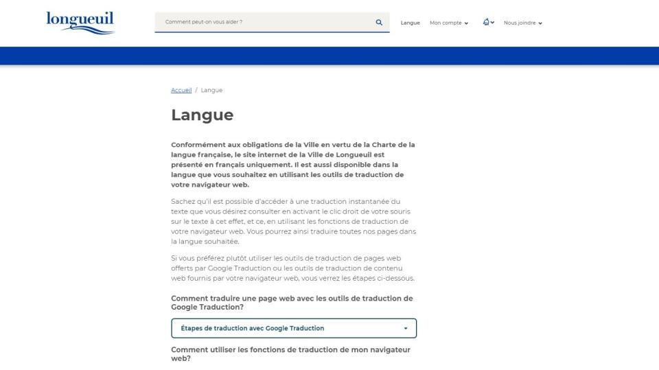 Longueuil website