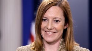 Jen Psaki is seen in the James Brady Press Briefing Room of the White House in Washington, Feb. 16, 2011. (AP Photo/Charles Dharapak)