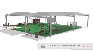 Architects' rendering of the outdoor fitness park.