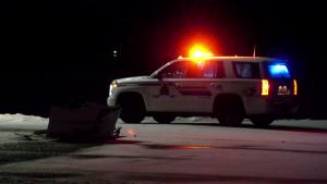 RCMP investigate a collision involving a semi truck and minivan on January 20, 2021 (CTV News Photo Scott Andersson)