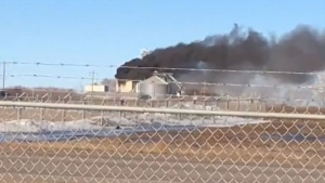 A grain elevator, near Brooks, Alta., caught fire Wednesday afternoon. (Supplied/Mike St. Onge)
