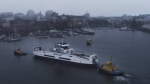 A hybrid-electric Island Class BC Ferries vessel is seen in Victoria's Inner Harbour.