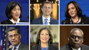Composite photo of U.S. Vice President Kamala Harris and some of U.S. President Joe Biden's cabinet picks.