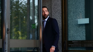 Conservative MP Derek Sloan arrives to a meeting in Ottawa on Tuesday, Sept. 22, 2020. THE CANADIAN PRESS/Sean Kilpatrick