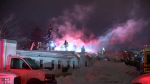 A fire early Thursday morning at the Motel St-Hubert in Longueuil prompted firefighters to respond. (Cosmo Santamaria/CTV News)