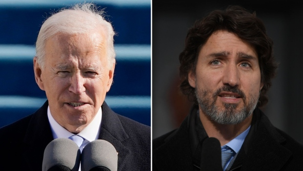 U.S. President Joe Biden, left, and Prime Minister Justin Trudeau are seen in this combination image. (Images via AP and The Canadian Press)