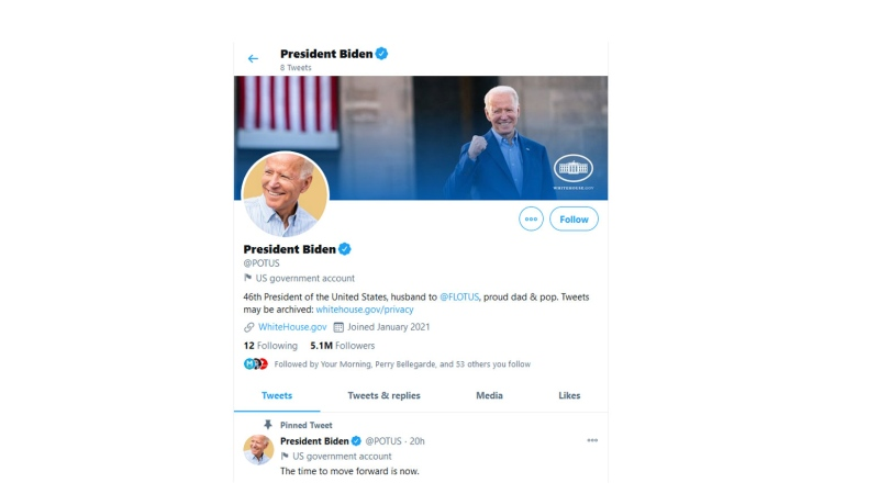 Twitter transfers POTUS account to Biden