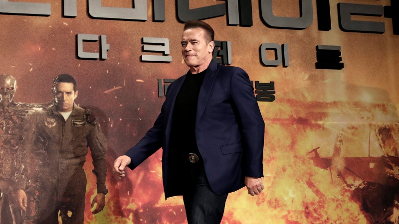 FILE - Actor Arnold Schwarzenegger arrives to attend a press conference to promote his latest movie 'Terminator: Dark Fate' in Seoul, South Korea, Monday, Oct. 21, 2019. (AP Photo/Ahn Young-joon)