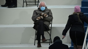 This photo of Bernie Sanders at the Biden inauguration by AFP's Brendan Smialowski spawned many memes on social media, poking fun at the Vermont senator's style. (Brendan Smialowski / AFP)