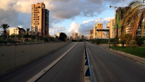 A highway is empty of cars during a lockdown aimed at curbing the spread of COVID-19 in Beirut, Lebanon, on Jan. 15, 2021. (Bilal Hussein / AP)