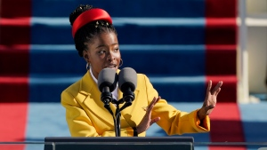 American poet Amanda Gorman reads a poem during the 59th Presidential Inauguration at the U.S. Capitol in Washington, on Jan. 20, 2021. (Patrick Semansky/AP/CNN)