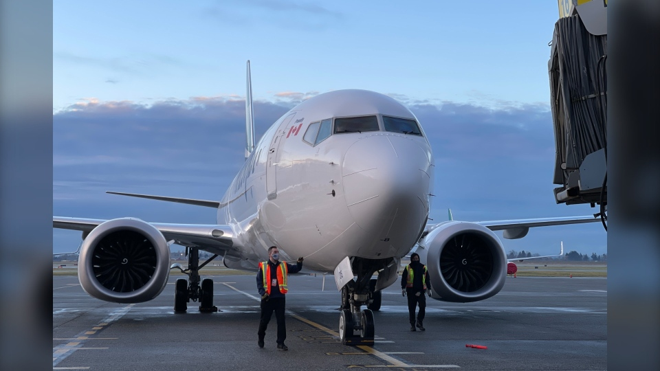 A Boeing 737 Max operated by WestJet arrives in Vancouver on Thursday, Jan. 21, 2021.
