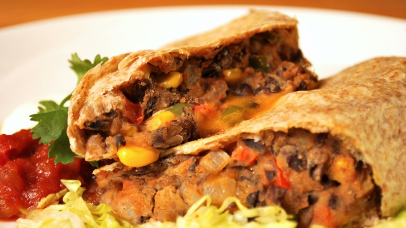 ATCO Blue Flame Kitchen, black bean, corn burritos