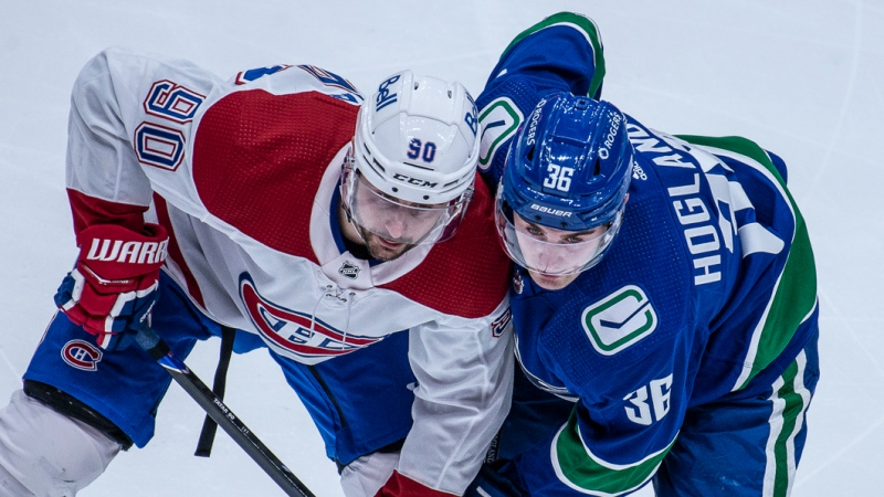 The Vancouver Canucks won their first home game of the shortened NHL season against the Montreal Canadiens on Wednesday, Jan. 20, 2021.  <br><br> It took some late heroics from Brock Boeser to send the game into overtime and thwart Tyler Toffoli's hat trick in his first game against his former team. A strong performance by captain Bo Horvat was capped off by netting the game winner in the shootout.  (Anil Sharma, photographer)