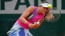 Spain's Paula Badosa plays a shot at theFrench Open tennis tournament, on Oct. 5, 2020. (Christophe Ena / AP)
