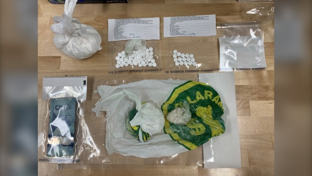 A image shows drugs seized during a recent investigation by Thompson RCMP. (Image source: Manitoba RCMP)