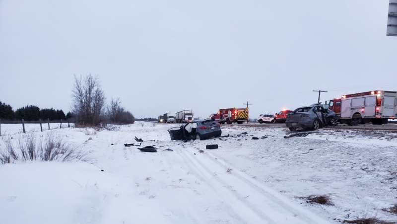 Mounties in Leduc are investigating a serious, two-vehicle crash on Thursday, Jan. 21, 2021. (RCMP)