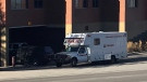 A Lethbridge Police Service explosive disposal unit vehicle parked outside the LPS station on Thursday morning during the investigation into a suspicious package.