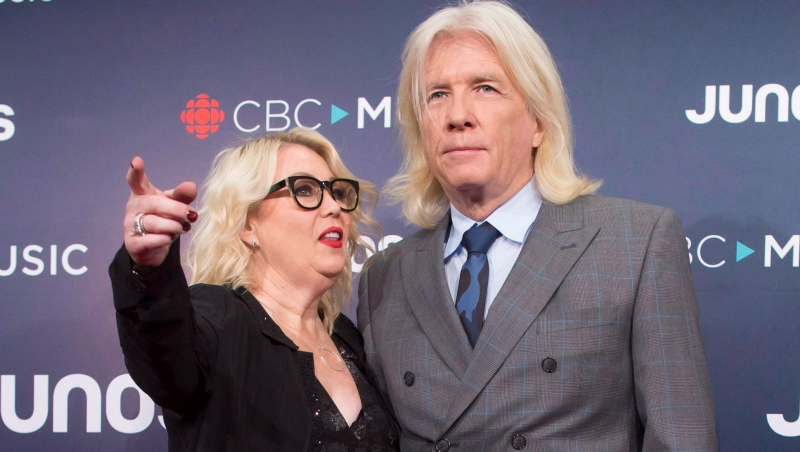 Bob Rock and Jan Arden arrive at the Juno Awards in Vancouver, Sunday, March, 25, 2018. THE CANADIAN PRESS/Darryl Dyck
