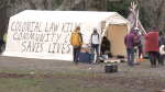 The Community Cares Tent, which gives residents of a longstanding tent city a place to congregate and get warm, is located just across the road from the Beacon Hill Children's Farm. (CTV News)