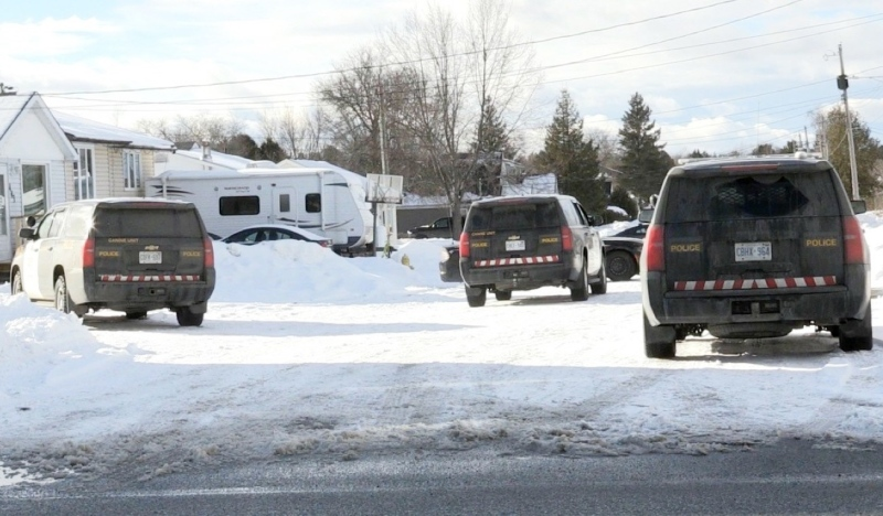 An incident that began on Albert Street in Espanola (pictured) ended when Sudbury police arrested three people in Lively. April 21/21 (Molly Frommer/CTV Northern Ontario)