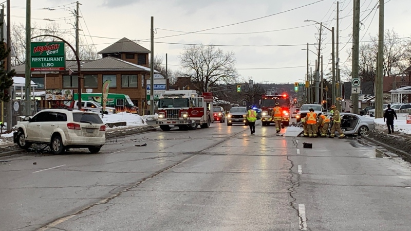 Emergency crews at the scene of a serious collision on Essa Road at Anne Street in Barrie, Ont., on Thurs., Jan. 21, 2021. (Dave Erskine/CTV News)