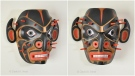 A piece titled 'Corona Virus Mask' is shown in photos provided by David Neel.