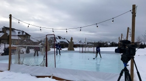 More people are using backyard rinks this year due to the pandemic (Tegan Versolatto / CTV News Kitchener)