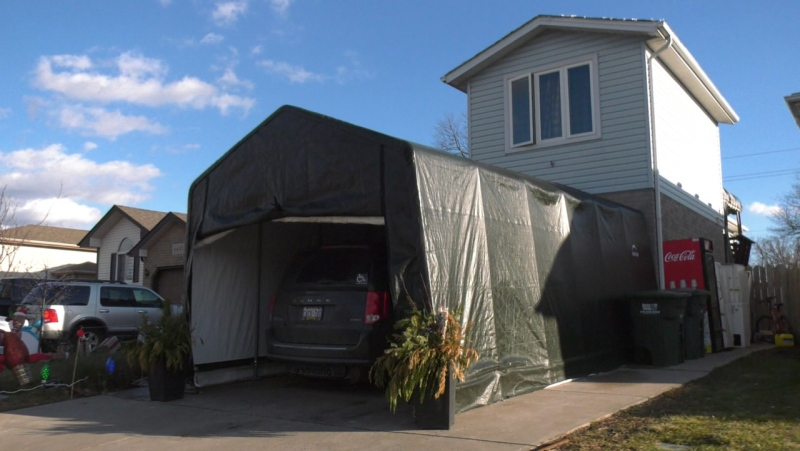 Driveway tent Steve Levesque uses to assist his daughter who uses a wheelchair in Windsor, Ont. on Thursday, Jan. 21, 2020. (Chris Campbell/CTV Windsor)