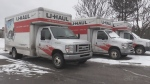 U-Haul moving truck parked in Barrie on Jan. 21, 2021 (Roger Klein/CTV News)