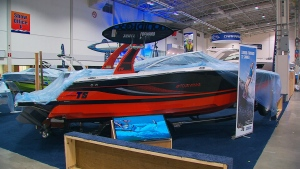 A boat is seen at the Toronto International Boat Show.