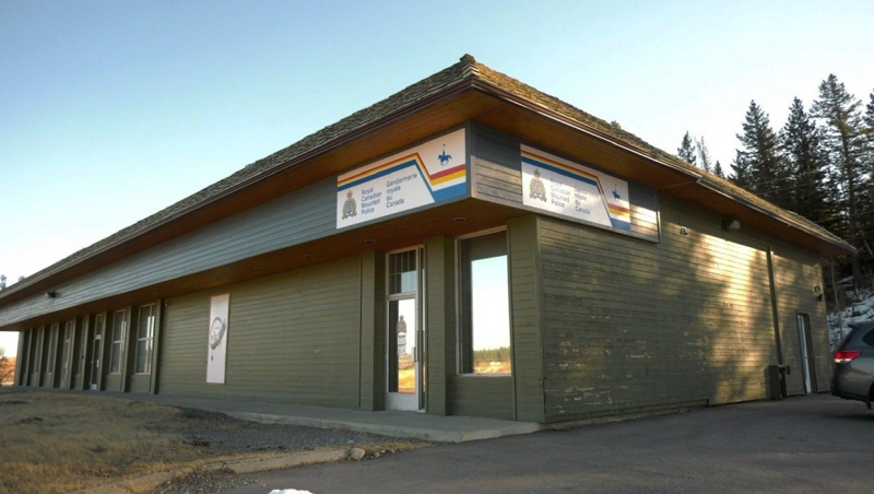 The quarter section of a largely empty building that has been renovated by the Chiniki nation for the RCMP to use as a satellite detachment for the 10 full-time members that have been posted there since January 4, 2021.