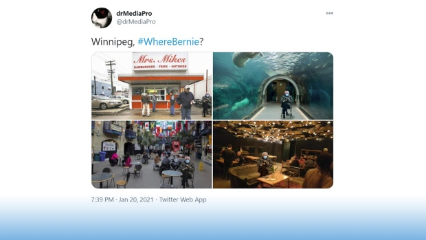 David Robin created several images of Sanders at iconic Winnipeg spots.