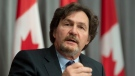 Supreme Court of Canada Chief Justice Richard Wagner gesutres as he responds to a question during his annual news conference Thursday June 18, 2020 in Ottawa. THE CANADIAN PRESS/Adrian Wyld