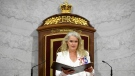 Gov. Gen. Julie Payette delivers the throne speech in the Senate chamber in Ottawa on Wednesday, Sept. 23, 2020. THE CANADIAN PRESS/Adrian Wyld