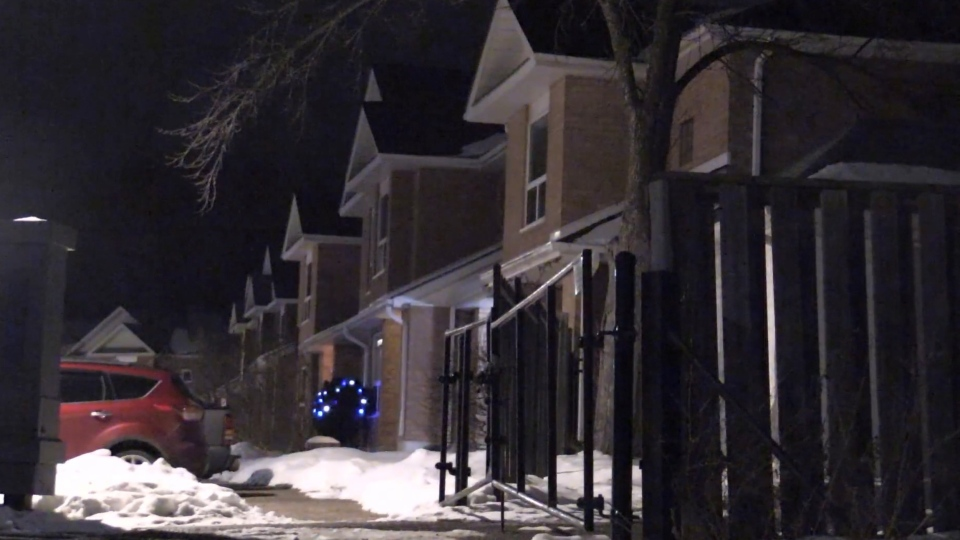 A townhouse complex on Yonge St in Barrie, Ont. was the scene of what Barrie police call a case of attempted murder in late December 2020 (Don Wright/CTV News)