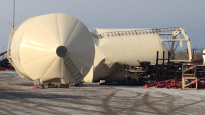 Overturned grain elevators at Flaman Agriculture and Farm Equipment in Nisku after a snow squall on Jan. 19, 2020.