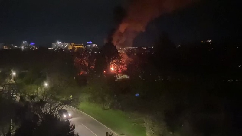 Video provided to CTV News by an area resident showed flames and black smoke filling the air. (Teddy Jenner)