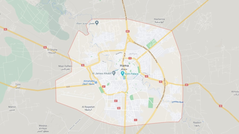Hama, a central province of Syria, is shown in this Google Maps image. (Google Maps)