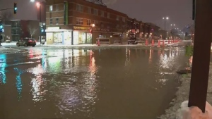 Water main floods busy Montreal intersection